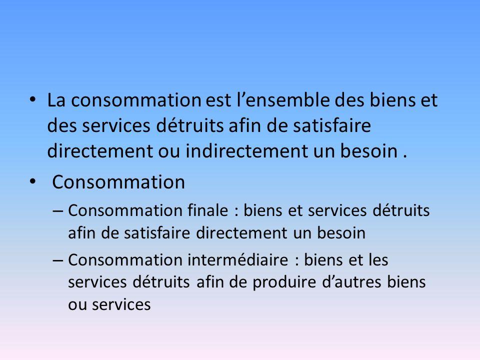 La consommation est l'ensemble des biens et des services détruits afin de satisfaire directement ou indirectement un besoin .