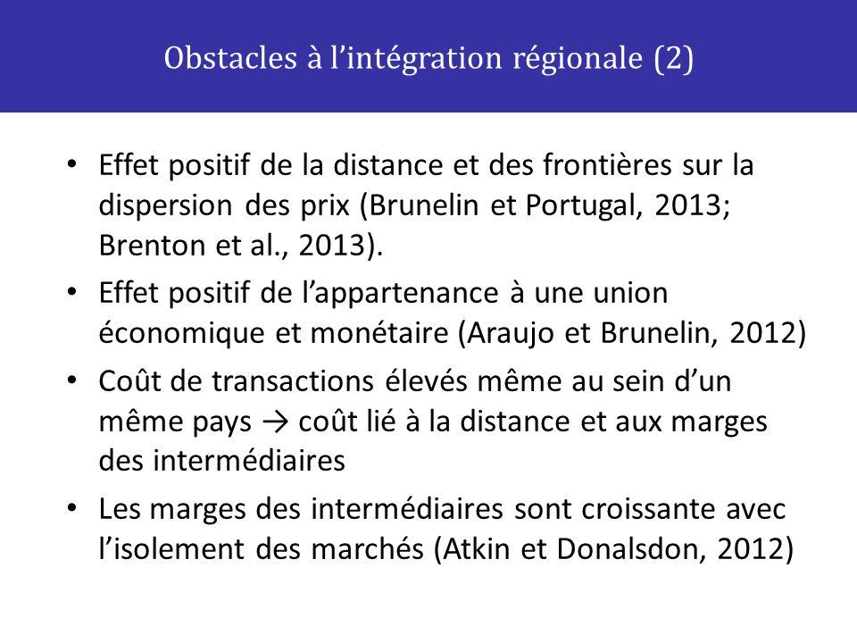 Obstacles à l'intégration régionale (2)