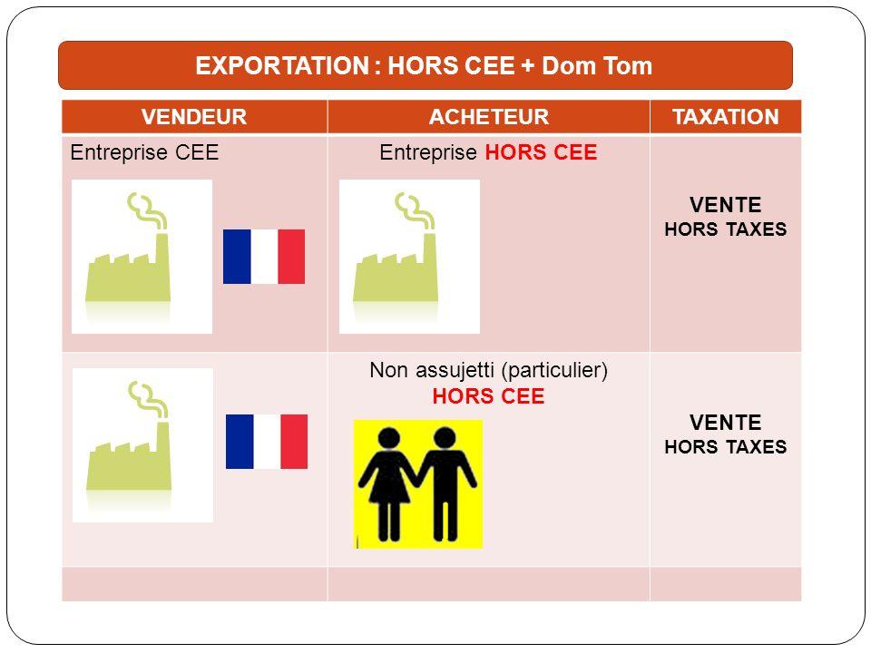 EXPORTATION : HORS CEE + Dom Tom