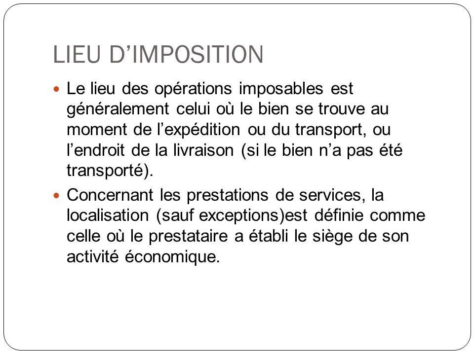 LIEU D'IMPOSITION
