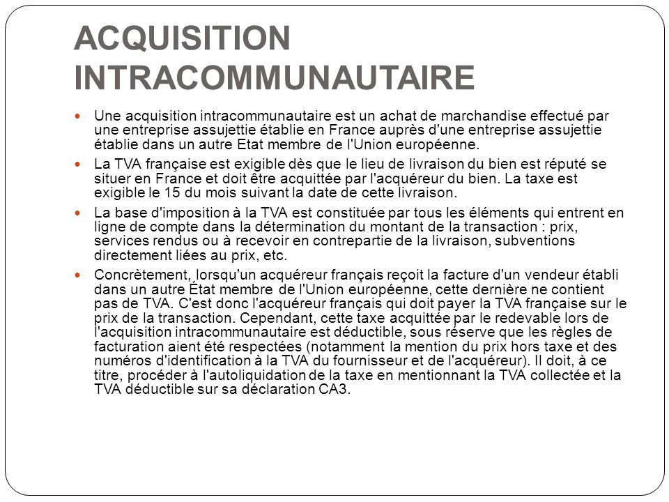 ACQUISITION INTRACOMMUNAUTAIRE