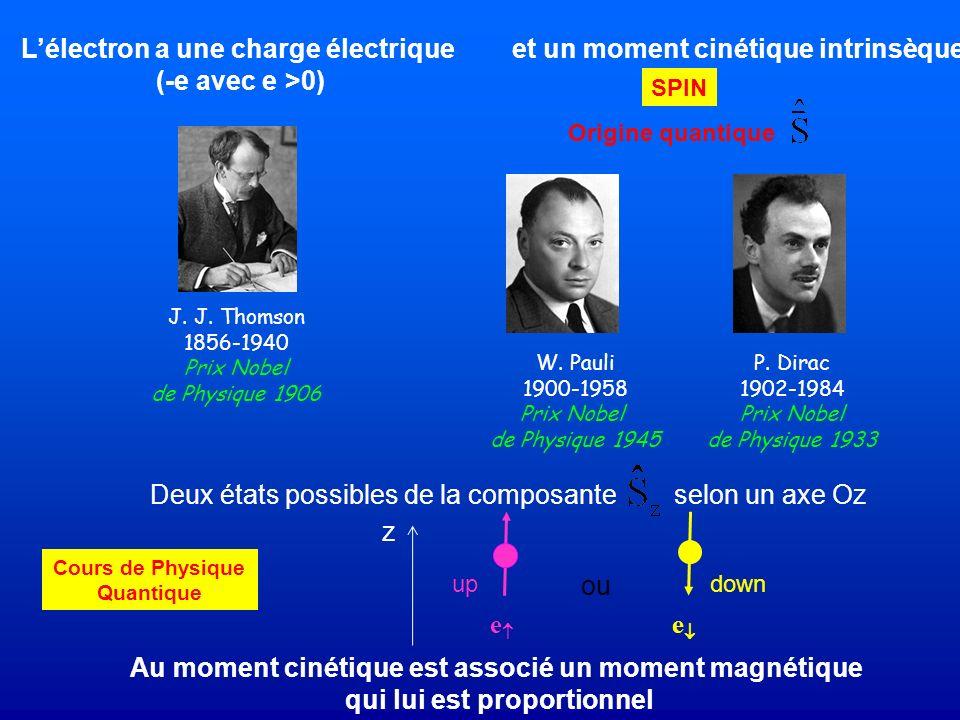 L'électron a une charge électrique (-e avec e >0)