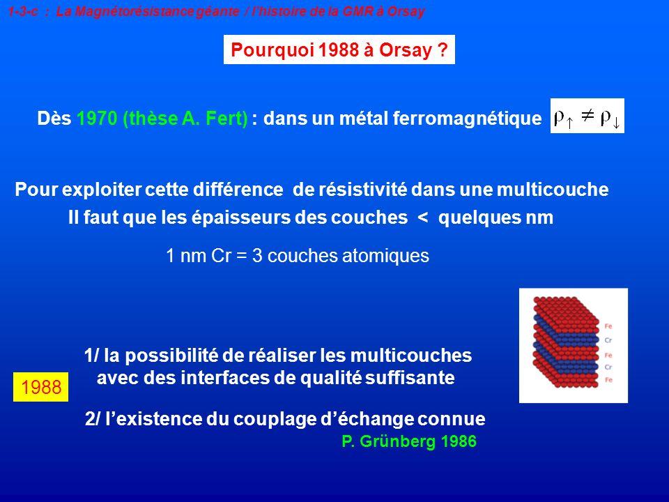 Dès 1970 (thèse A. Fert) : dans un métal ferromagnétique