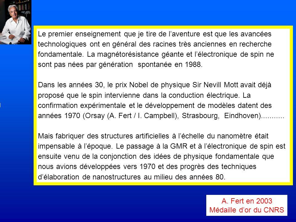 Le premier enseignement que je tire de l'aventure est que les avancées technologiques ont en général des racines très anciennes en recherche fondamentale. La magnétorésistance géante et l'électronique de spin ne sont pas nées par génération spontanée en 1988.