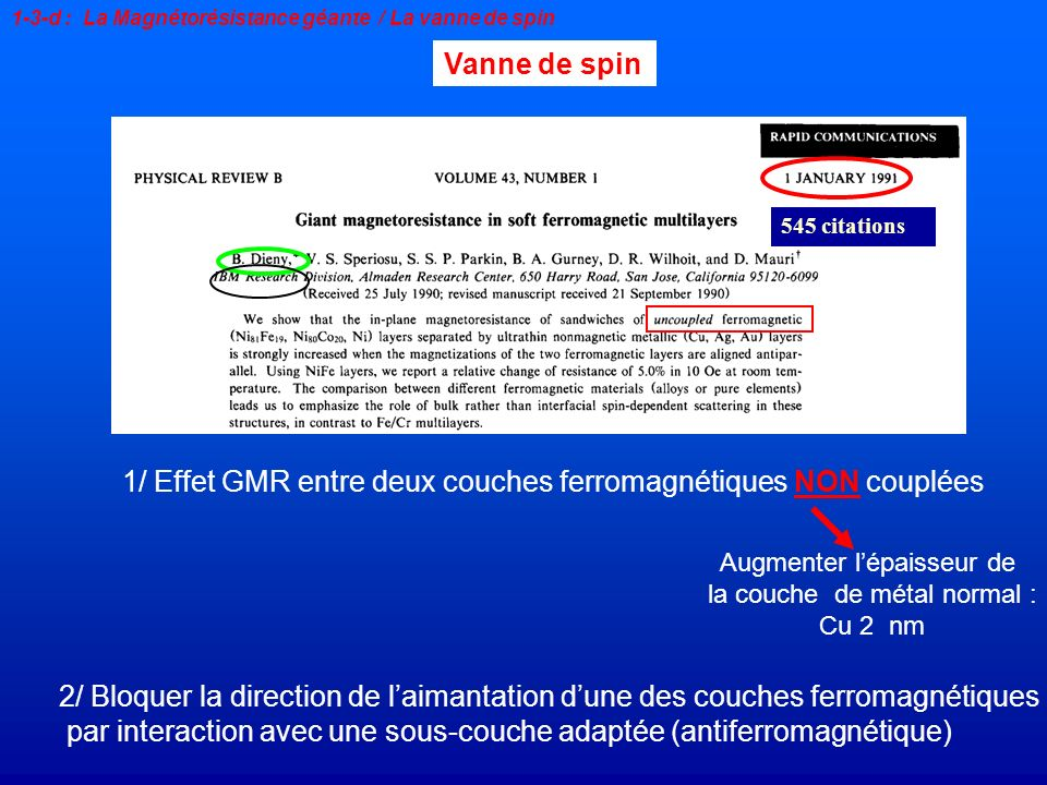 1/ Effet GMR entre deux couches ferromagnétiques NON couplées