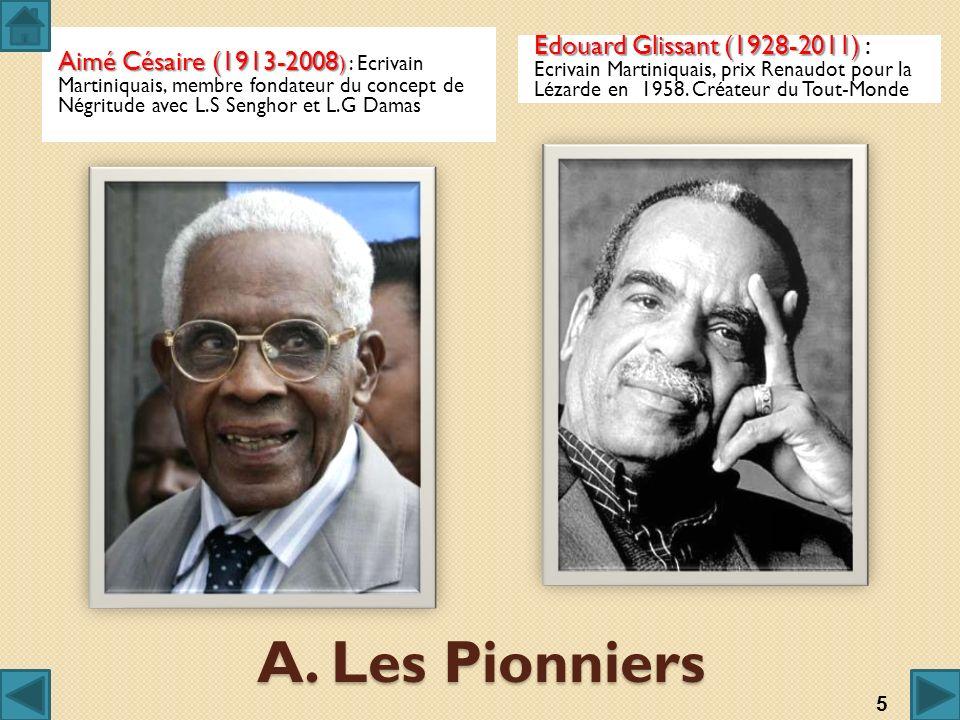 Aimé Césaire (1913-2008) : Ecrivain Martiniquais, membre fondateur du concept de Négritude avec L.S Senghor et L.G Damas