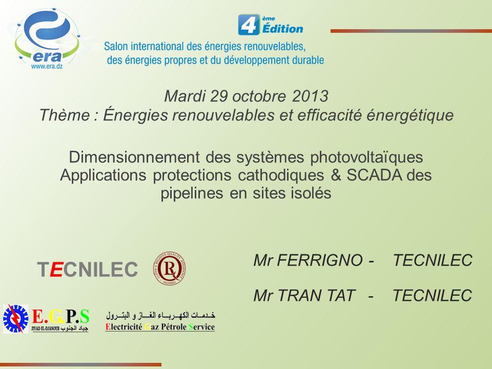 Thème : Énergies renouvelables et efficacité énergétique