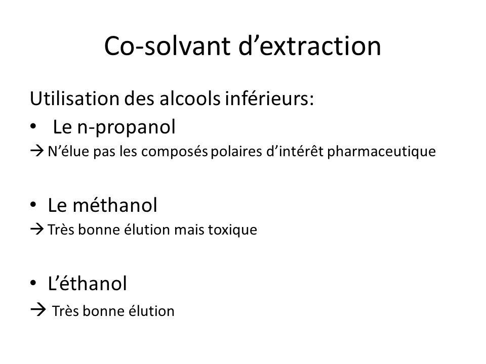 Co-solvant d'extraction