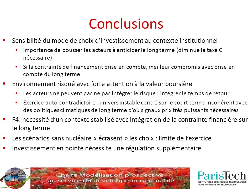 Conclusions Sensibilité du mode de choix d'investissement au contexte institutionnel.