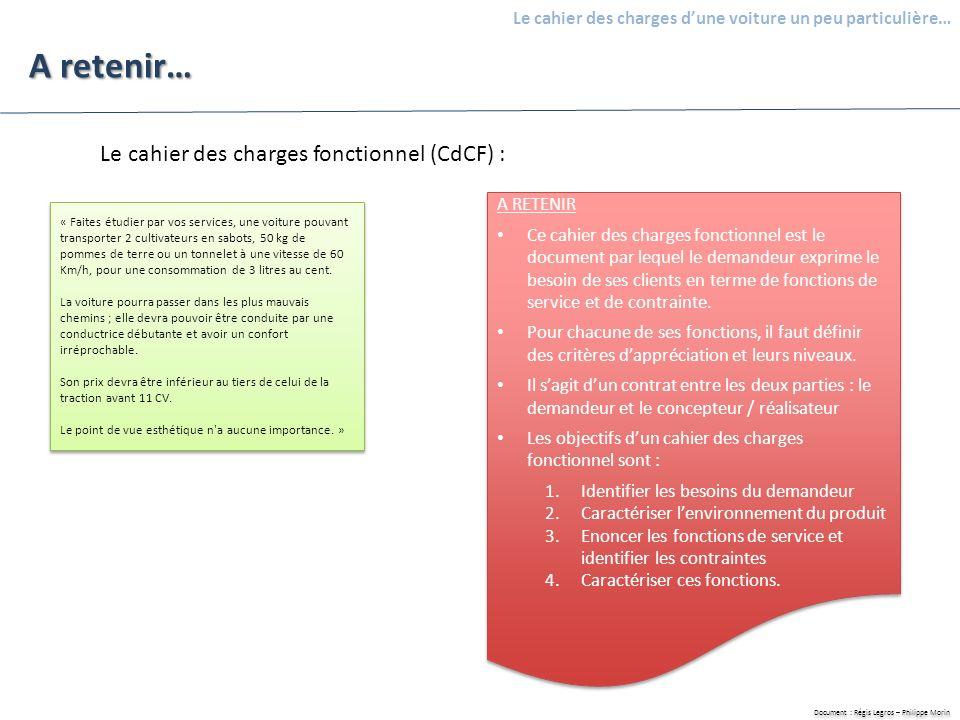 A retenir… Le cahier des charges fonctionnel (CdCF) : A RETENIR