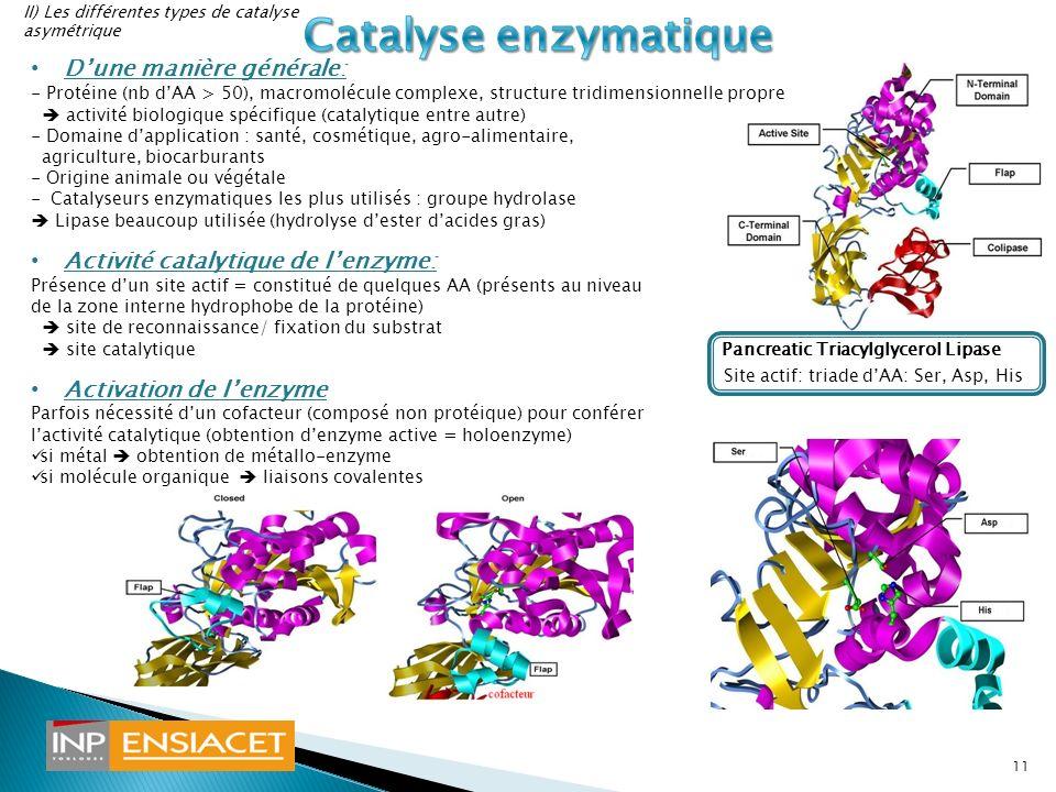 Catalyse enzymatique D'une manière générale: