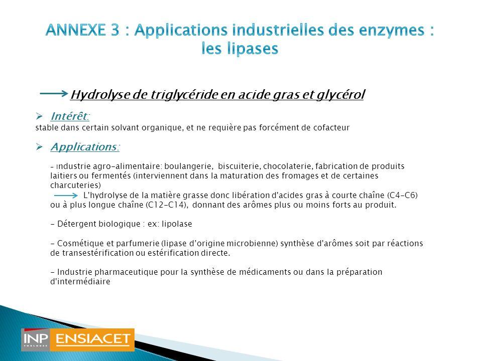 ANNEXE 3 : Applications industrielles des enzymes : les lipases