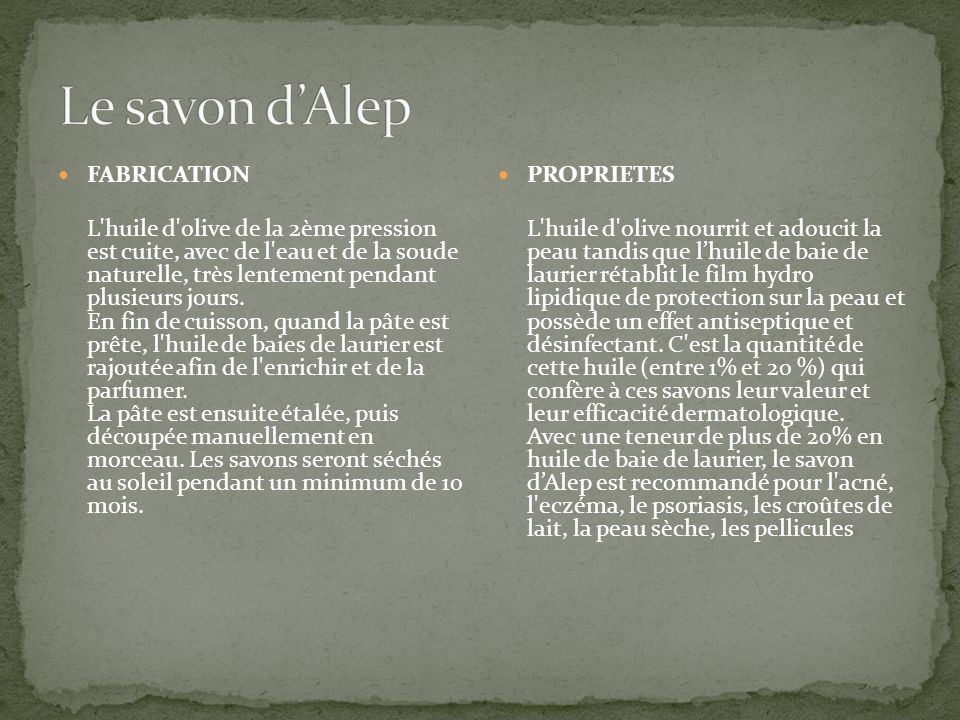 Le savon d'Alep FABRICATION