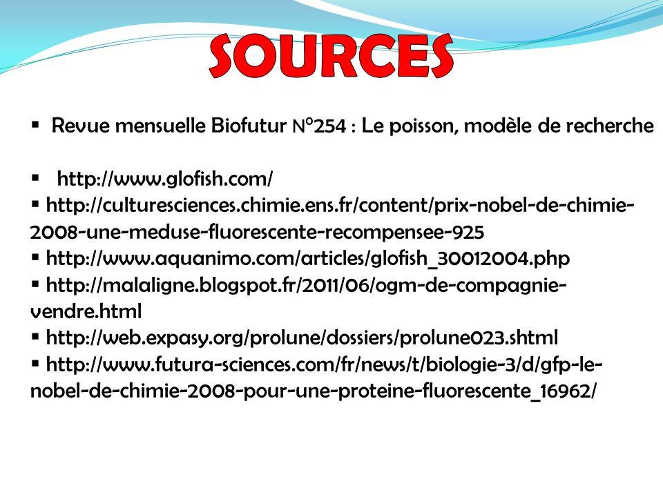 SOURCES Revue mensuelle Biofutur N°254 : Le poisson, modèle de recherche. http://www.glofish.com/