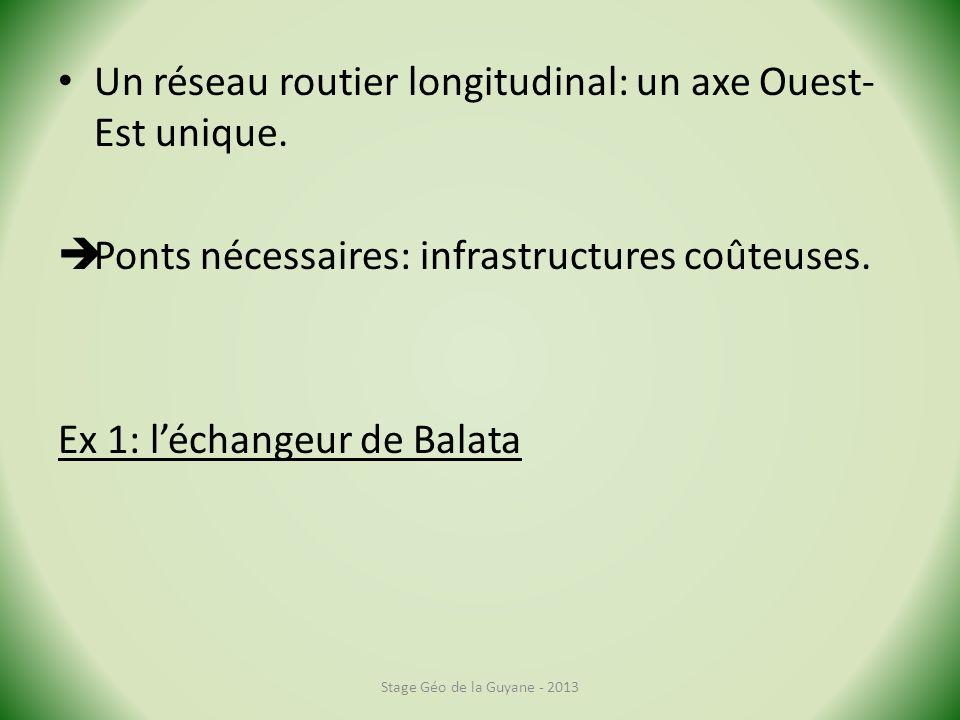 Un réseau routier longitudinal: un axe Ouest-Est unique.