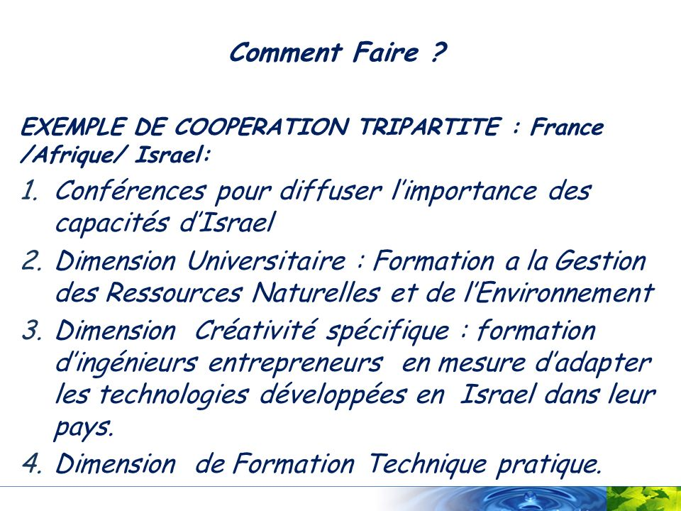 Conférences pour diffuser l'importance des capacités d'Israel