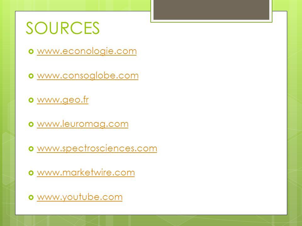 SOURCES www.econologie.com www.consoglobe.com www.geo.fr