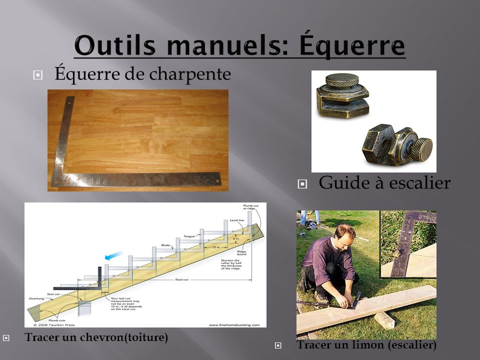 Équerre de charpente Guide à escalier Tracer un chevron(toiture)