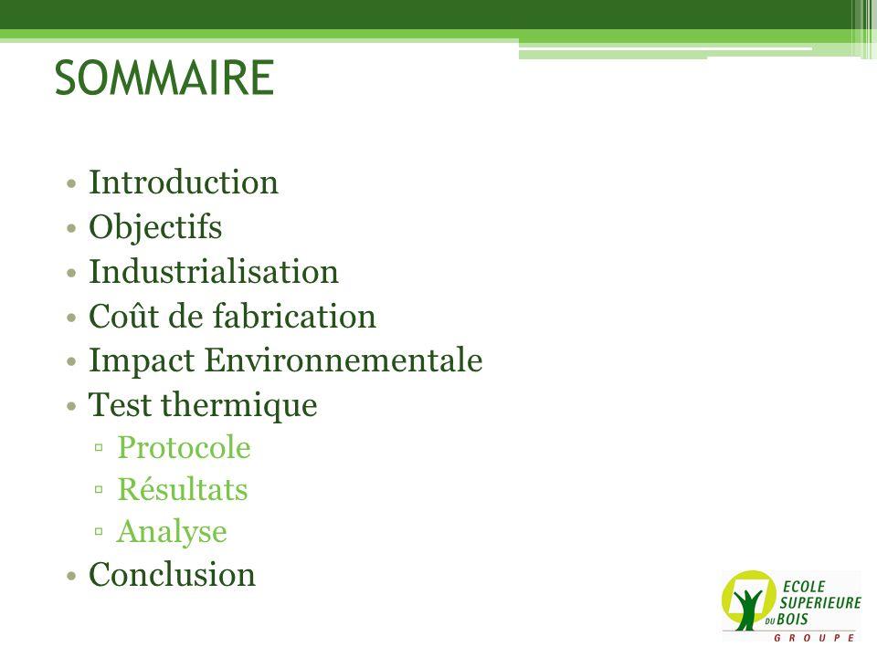SOMMAIRE Introduction Objectifs Industrialisation Coût de fabrication