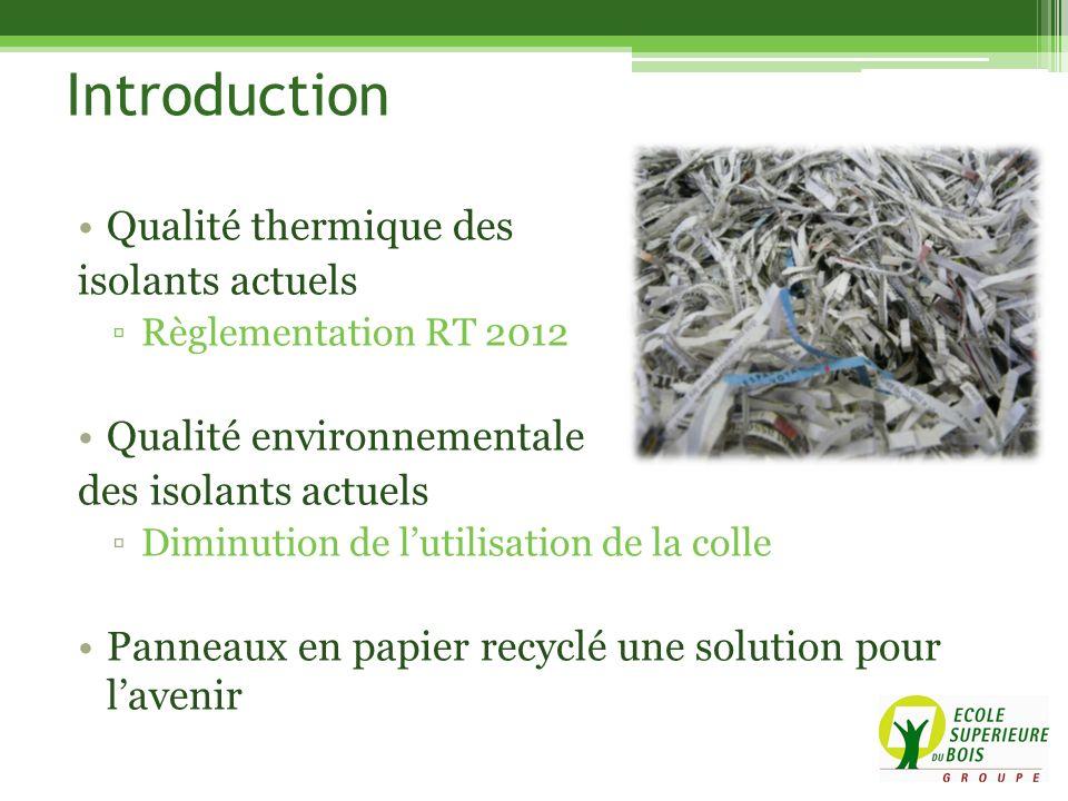 Introduction Qualité thermique des isolants actuels