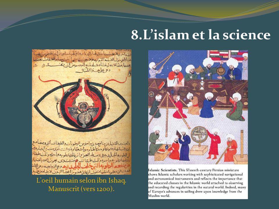 L oeil humain selon ibn Ishaq. Manuscrit (vers 1200).