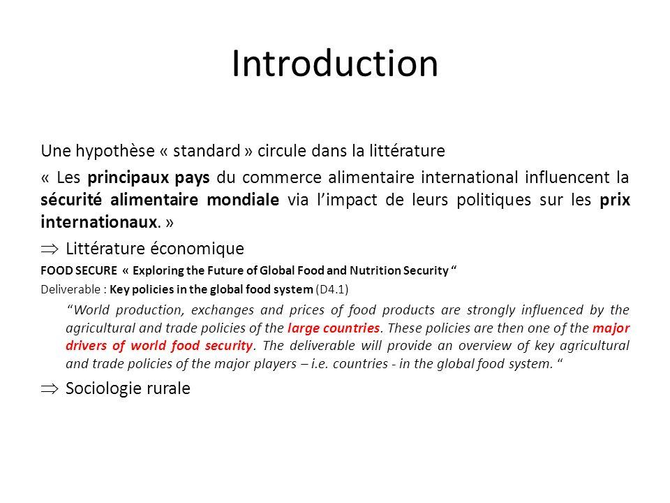 Introduction Une hypothèse « standard » circule dans la littérature