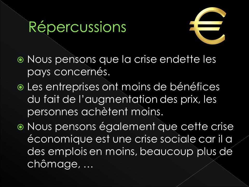 Répercussions Nous pensons que la crise endette les pays concernés.