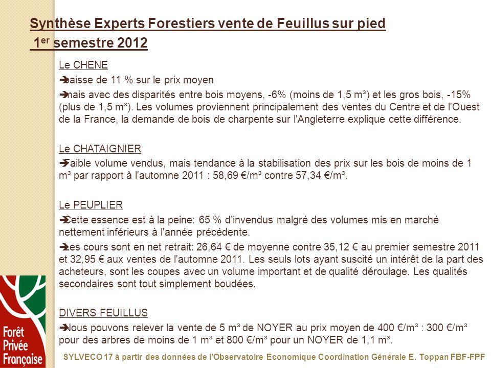 Synthèse Experts Forestiers vente de Feuillus sur pied