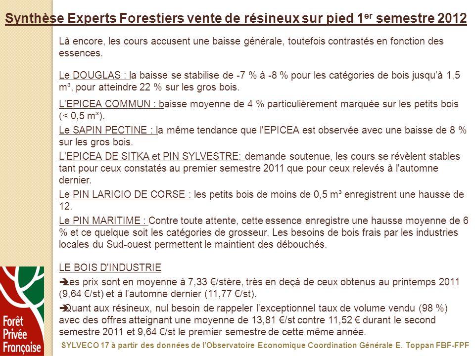 Synthèse Experts Forestiers vente de résineux sur pied 1er semestre 2012