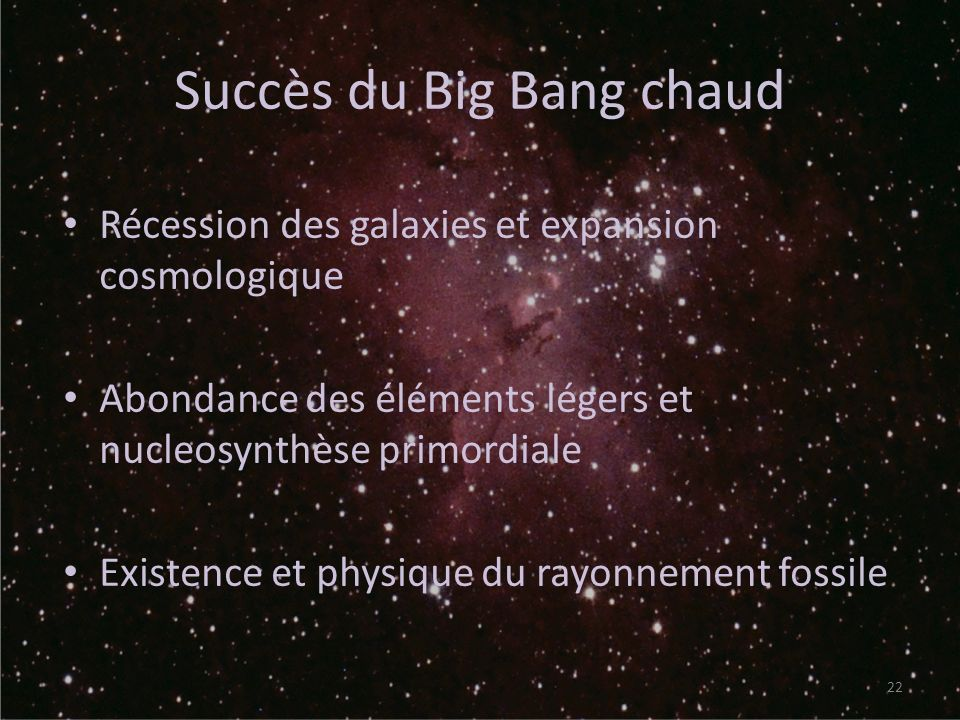 Succès du Big Bang chaud