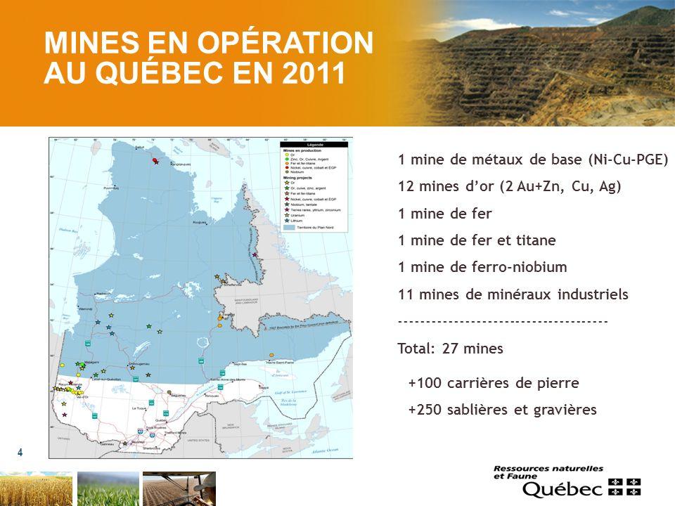 MINES EN OPÉRATION AU QUÉBEC EN 2011