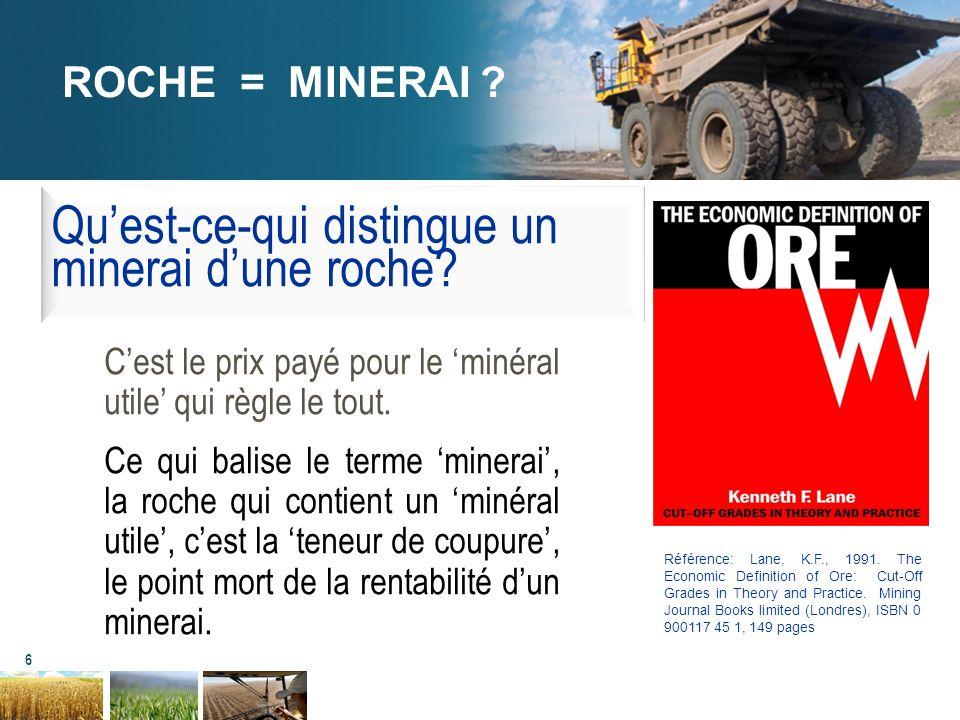 Qu'est-ce-qui distingue un minerai d'une roche