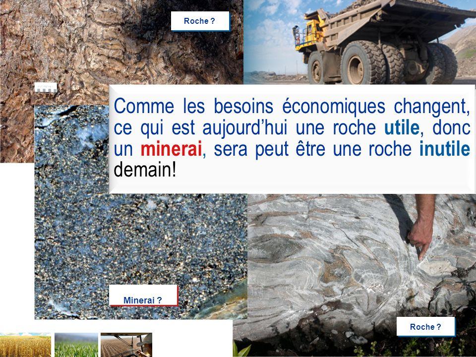 Roche Comme les besoins économiques changent, ce qui est aujourd'hui une roche utile, donc un minerai, sera peut être une roche inutile demain!