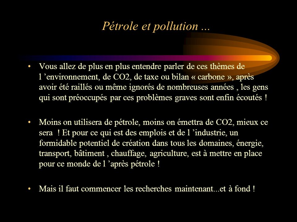 Pétrole et pollution ...