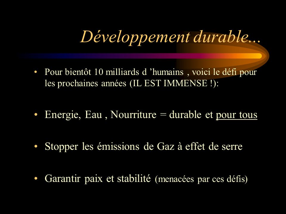 Développement durable...