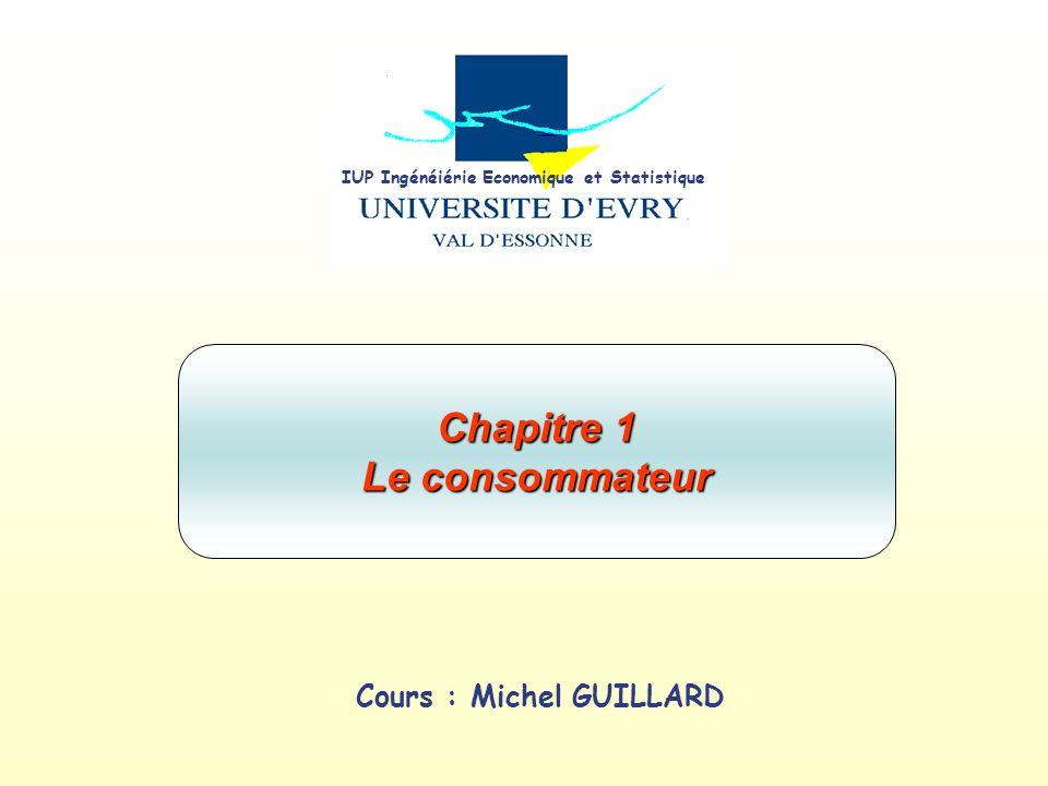 IUP Ingénéiérie Economique et Statistique Cours : Michel GUILLARD