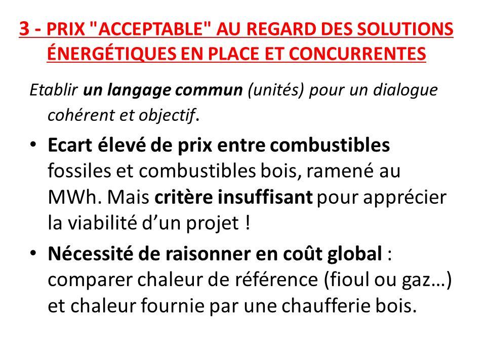 3 - PRIX ACCEPTABLE AU REGARD DES SOLUTIONS ÉNERGÉTIQUES EN PLACE ET CONCURRENTES
