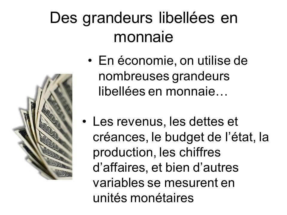 Des grandeurs libellées en monnaie