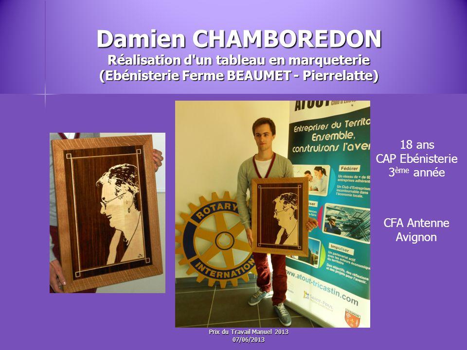 Damien CHAMBOREDON Réalisation d un tableau en marqueterie (Ebénisterie Ferme BEAUMET - Pierrelatte)