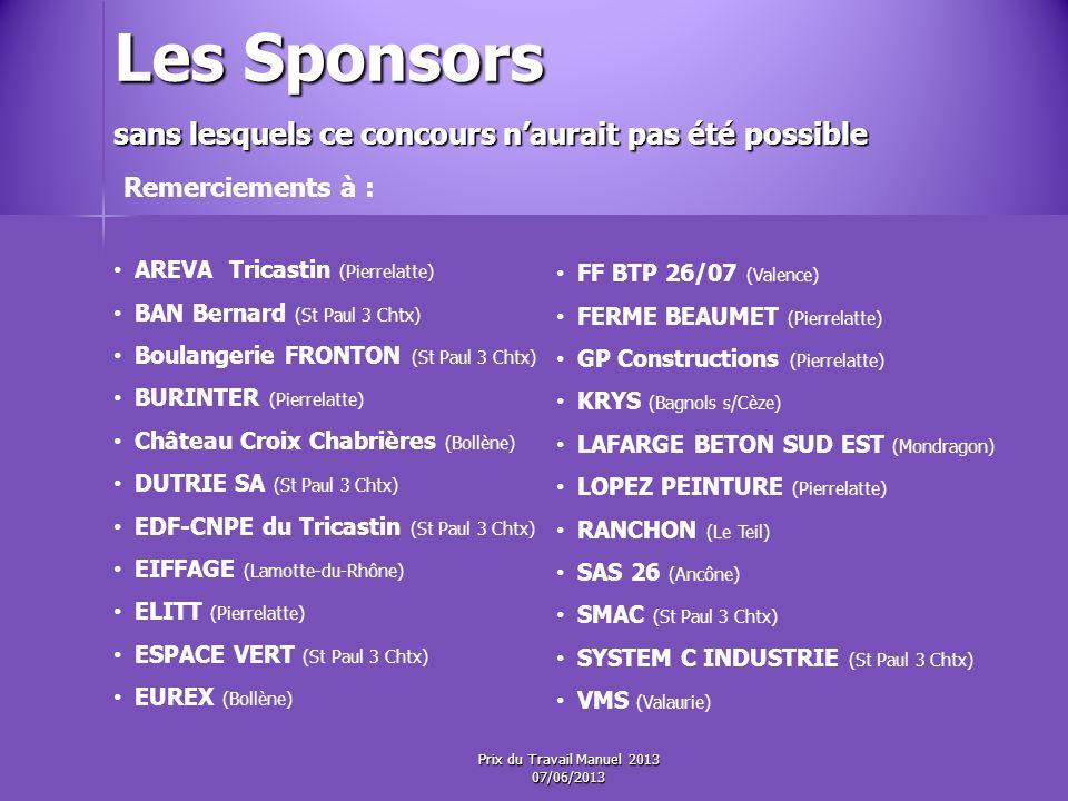 Les Sponsors Remerciements à : AREVA Tricastin (Pierrelatte)