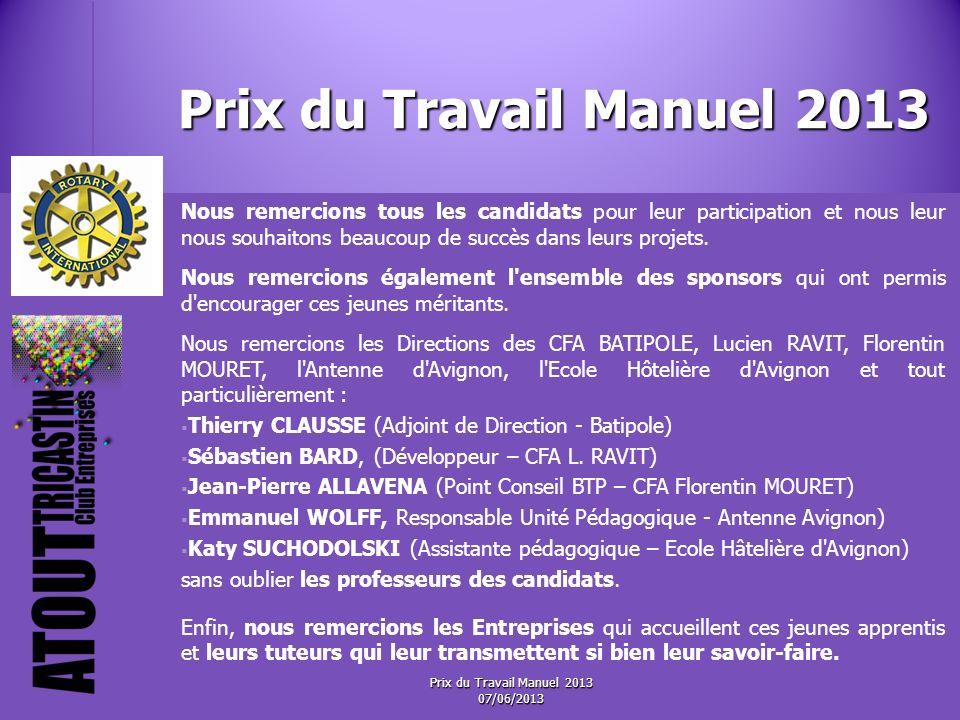 Prix du Travail Manuel 2013