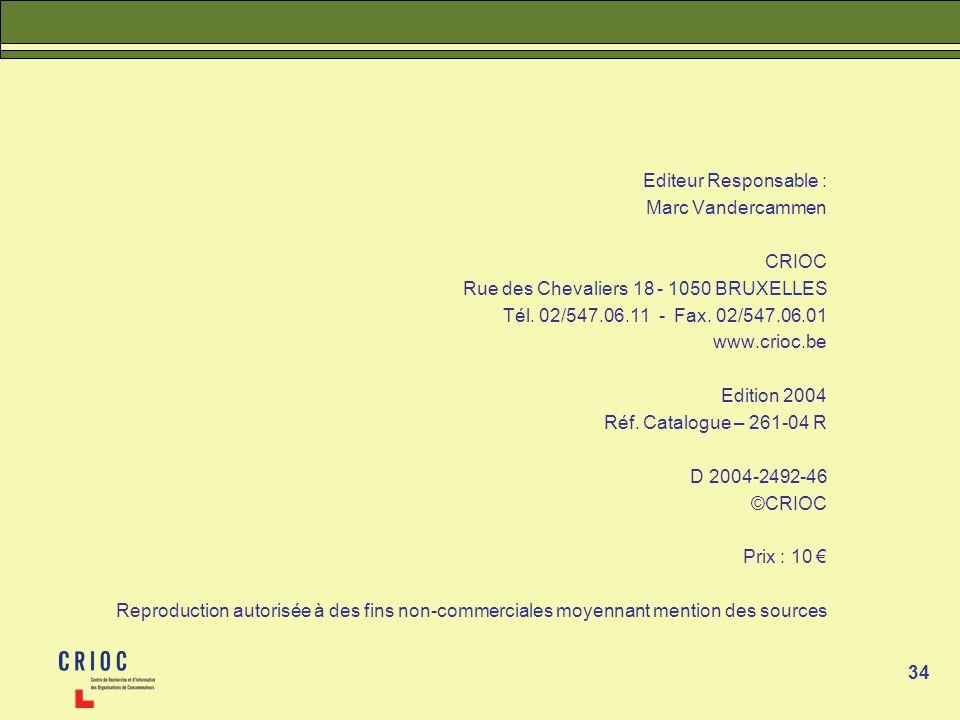 Editeur Responsable : Marc Vandercammen. CRIOC. Rue des Chevaliers 18 - 1050 BRUXELLES. Tél. 02/547.06.11 - Fax. 02/547.06.01.