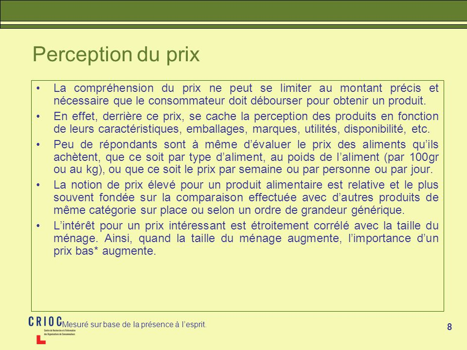 Perception du prix