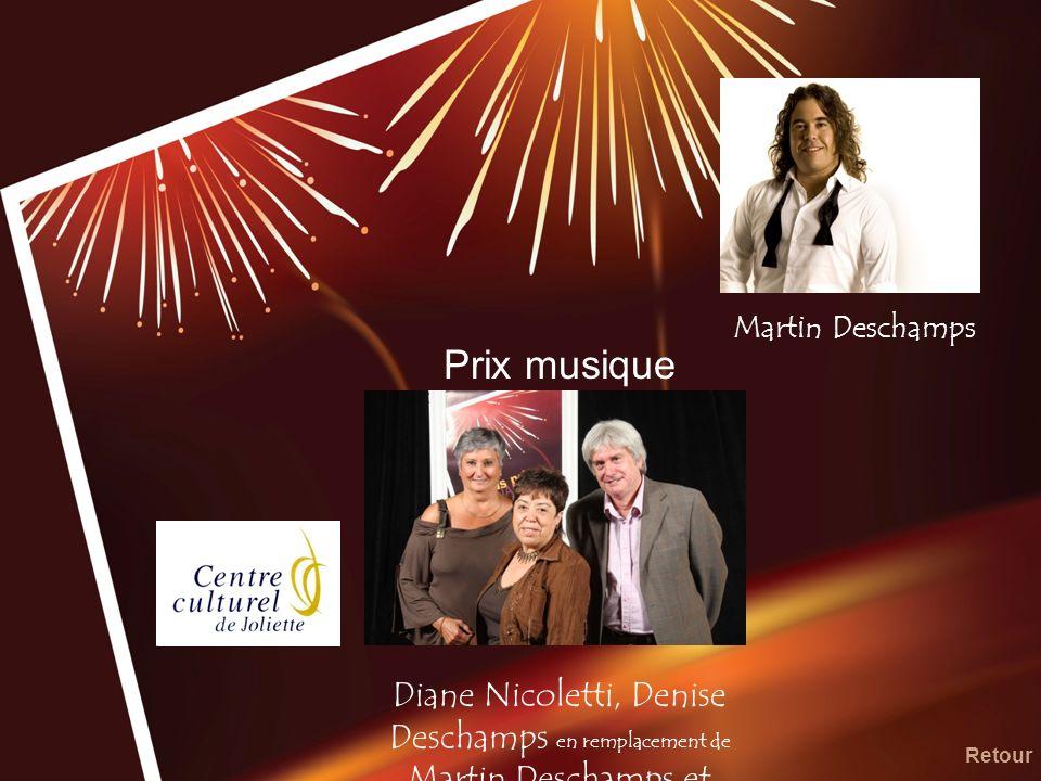 Martin Deschamps Prix musique. Diane Nicoletti, Denise Deschamps en remplacement de Martin Deschamps et Gilbert Boulet.