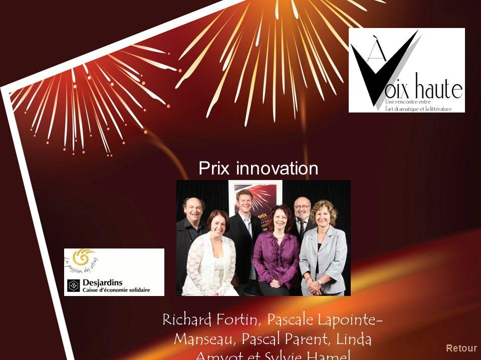 Prix innovation Richard Fortin, Pascale Lapointe-Manseau, Pascal Parent, Linda Amyot et Sylvie Hamel.