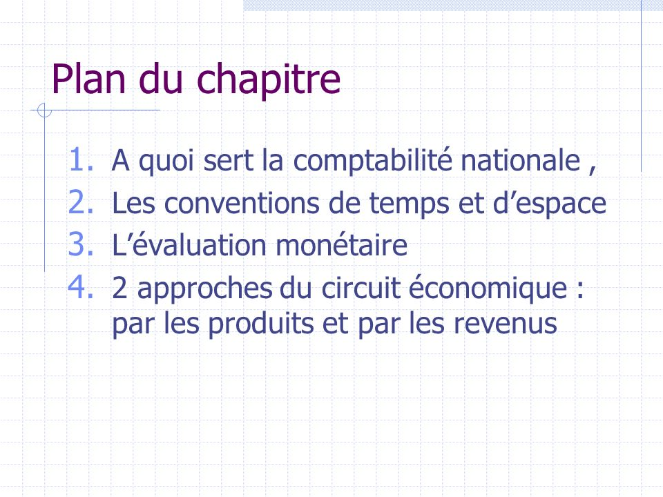 Plan du chapitre A quoi sert la comptabilité nationale ,