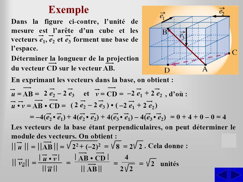 Exemple Dans la figure ci-contre, l'unité de mesure est l'arête d'un cube et les vecteurs e1, e2 et e3 forment une base de l'espace.