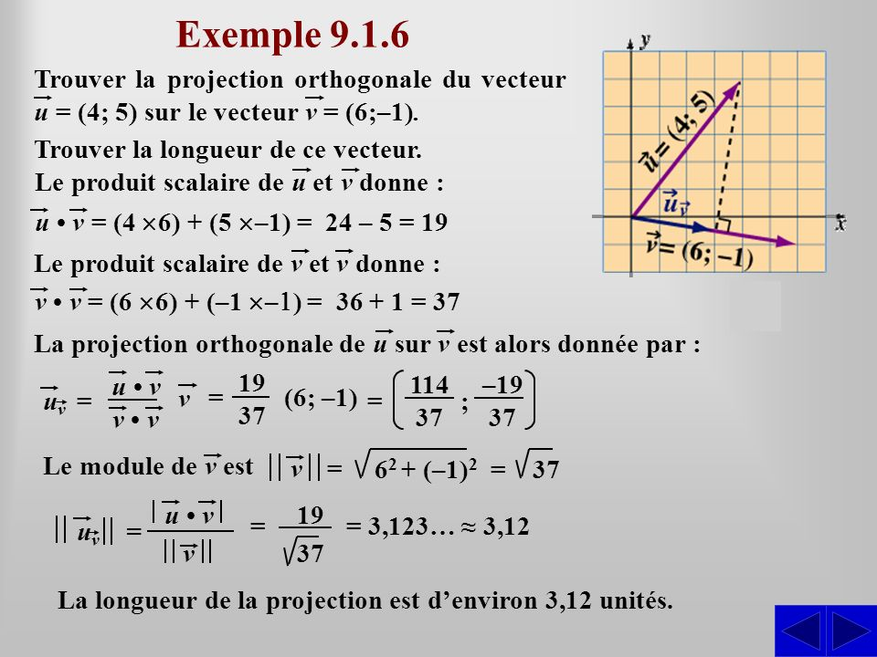 Exemple 9.1.6 Trouver la projection orthogonale du vecteur u = (4; 5) sur le vecteur v = (6;–1). Trouver la longueur de ce vecteur.