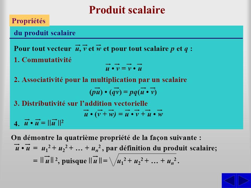 Produit scalaire Propriétés du produit scalaire