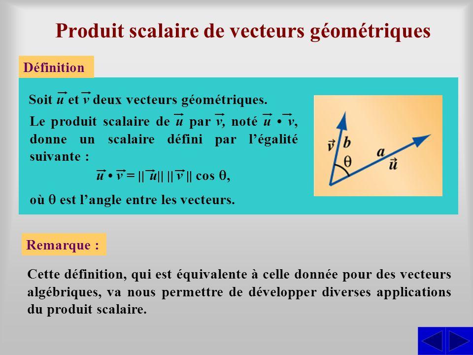 Produit scalaire de vecteurs géométriques